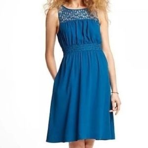NWT HD in Paris Anthro Teal Lace Yoke Dress 4